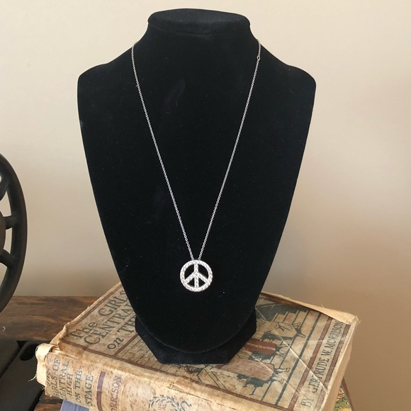 Jewelry sterling silver peace sign pendant necklace poshmark m5a6f532285e605ca09610d4c aloadofball Images